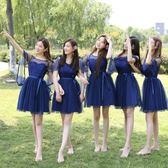 伴娘服款夏季新款韓版姐妹團灰色畢業聚會活動小禮服顯瘦裙 QQ1742『MG大尺碼』