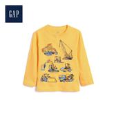 Gap男幼童柔軟妙趣圖案圓領長袖T恤496420-橙黃色