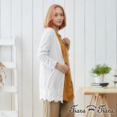 【Tiara Tiara】百貨同步aw 蕾絲緹花下擺開襟長袖罩衫(白/粉/灰) 漢神獨家