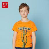 JJLKIDS 男童 手繪仙人掌立體字母短袖上衣 T恤(橙色)