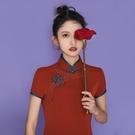 旗袍 新款紅色旗袍改良傳統女裝年輕款少女【快速出貨】