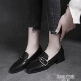 牛津鞋 ins小皮鞋女復古百搭春季2019新款中跟粗跟單鞋低跟英倫風女鞋潮 韓語空間