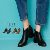 限量現貨◆PUFII-靴子 V字斜口側拉鍊粗跟短靴-0905 現+預 秋【CP17210】