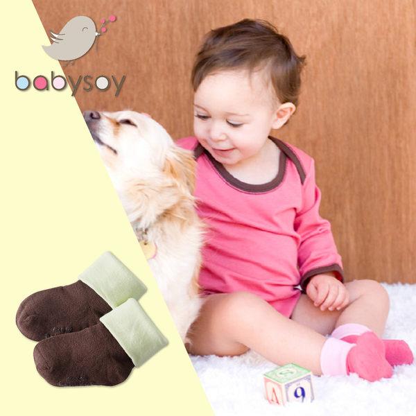 美國[Babysoy]嬰兒防滑雙色短襪1入-咖啡/白 (148)