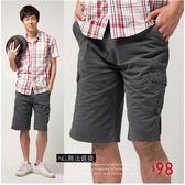 【大盤大】A205 NG無法退換 深灰藍 水洗褲 男 夏 XL 休閒短褲 素色 純棉五分褲 側口袋 工作褲