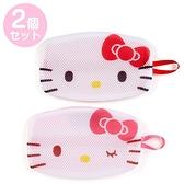小禮堂 Hello Kitty 扁平型手提洗衣網袋組 口罩網袋 護洗袋 洗口罩 (2入 紅 大臉) 4550337-56083