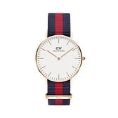 【Daniel Wellington】CLASSIC瑞典時尚品牌經典簡約尼龍腕錶-紅藍x玫金-36mm/DW00100029/原廠公司貨兩年保固