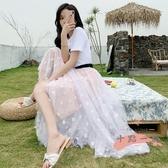網紗半身裙 紗裙半身裙女2020夏季新款高腰中長款a字小雛菊網紗仙女長裙 LW1183