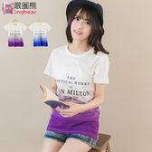 短袖T恤--沁涼感漸層簡約字母印圖短袖棉T (藍.紫XL-5L)-T187眼圈熊中大尺碼