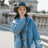 毛呢外套 牛角扣中長款秋冬裝新款韓版寬松學生連帽呢子大衣女