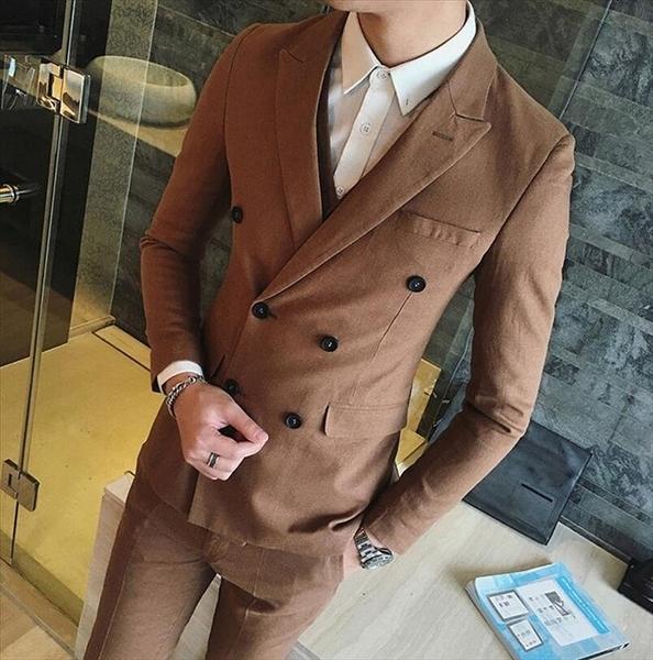 找到自己品牌 韓國男 麻料 四色 雙排扣 小西裝 修身西裝 西裝外套 單件外套