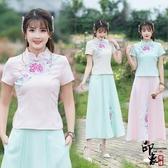 刺繡上衣漢服復古中國風立領盤扣修身氣質刺繡民族風上衣短袖T恤女 週年慶降價