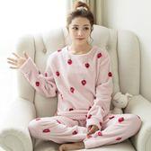 珊瑚絨睡衣女士長袖法蘭絨居家服套裝—聖誕交換禮物