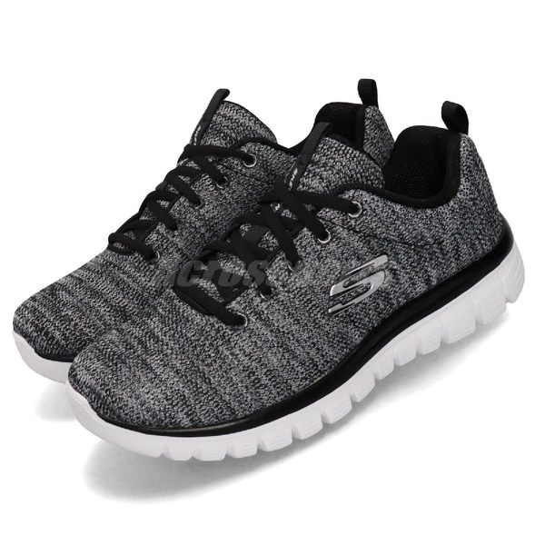 Skechers 慢跑鞋 Graceful-Twisted Fortune 黑 白 女鞋 運動鞋 【PUMP306】 12614BKW