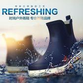 歐美天然橡膠雨鞋時尚防滑水鞋男士短筒雨靴戶外套鞋