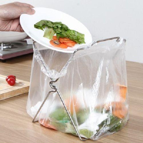 99免運-不銹鋼垃圾袋架子 抹布架 可折疊 廚房垃圾桶架