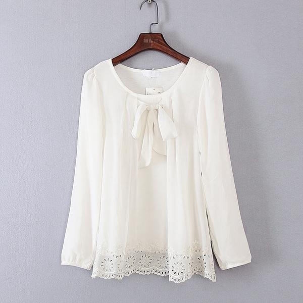 [超豐國際]好春秋裝女裝白色鏤空邊寬松復古T恤 33537(1入)
