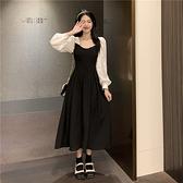 VK精品服飾 韓國風優雅寬領燈籠袖襯衫撞色拼接長袖洋裝