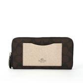 【COACH】PVC LOGO口袋ㄇ拉長夾禮盒(巧克力/金色)F22712 SVMWL