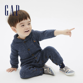 Gap嬰兒 簡約風格紐扣拉鍊針織包屁衣 592803-雜藍色