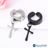 耳夾 ATeenPOP 無洞耳環 白鋼 垂墜十字架 簡約 單邊單個 可加購刻字