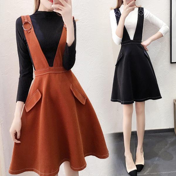 VK旗艦店 韓系時尚針織衫復合背帶裙套裝長袖裙裝