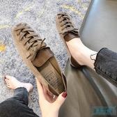 方頭鞋 平底豆豆鞋女2019秋季新款方頭黑色軟皮工作鞋懶人一腳蹬淺口單鞋 歐米小鋪