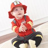 Big Dreamz: 長袖連身裝+帽子套裝彌月禮盒組: 小小消防員: BA-16010FF
