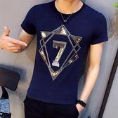 短袖T恤 夏季韓版個性印花修身潮男裝上衣《印象精品》t19