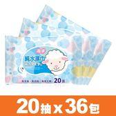 【海淨】純水濕紙巾(20張X36包)~純水99.9%、無香精、無酒精、無螢光劑【台灣製】。