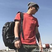 復古美式男款t恤短袖270G夏季休閒純色圓領青年男純棉潮流T恤衫 快速出貨