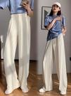 米白色西裝闊腿褲女高腰垂墜感高級感春夏拖地褲顯瘦直筒白色褲子
