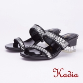 kadia.氣質優雅 雙色水鑽高跟拖鞋(9001-98黑色)