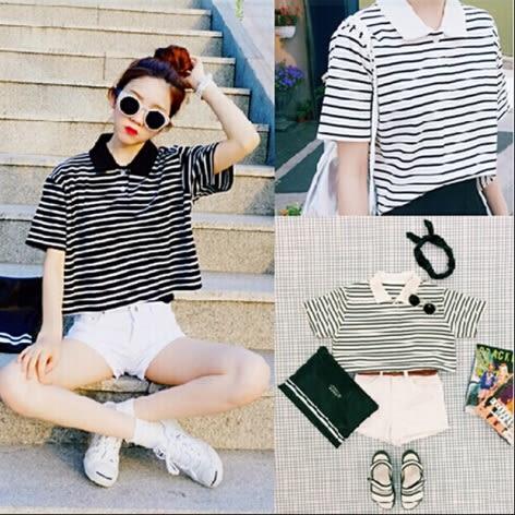 【AU08】韓國ulzzang夏季原宿學院風BF條紋短款POLO領女短袖t恤襯衫上衣潮