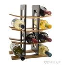 歐式創意木質紅酒架擺件現代簡約竹制酒架七彩實木紅酒架