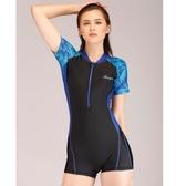 泳裝 韩版运动款专业游泳衣女连体大码平角泳装保守显瘦遮肚短袖防晒潮