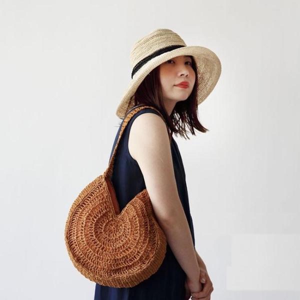 編織包包女草編包百搭休閒單肩手提大容量草包包ins同款沙灘包包 ATF艾瑞斯