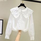 公主風娃娃領襯衫女設計感小眾復古港味春秋新款時尚洋氣學生上衣