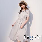 betty's貝蒂思 氣質雪紡縮腰長版洋裝(淺灰)