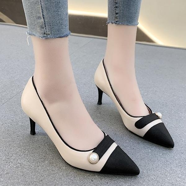 尖頭鞋.韓系氣質小香風拼接珍珠扣細高跟包鞋.白鳥麗子