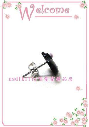 asdfkitty可愛家☆KITTY立體大頭造型穿式耳環-黑色下標頁-歐美版正版商品