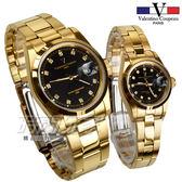 valentino coupeau范倫鐵諾 典雅晶鑽時刻指針錶 防水手錶 情人對錶 黑x金 N12168K黑金小+N12168K黑金大