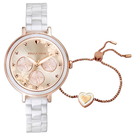 RELAX TIME LOVE愛戀系列 半陶瓷三眼腕錶 送手鍊 女錶 蜜糖玫 RT-91-2
