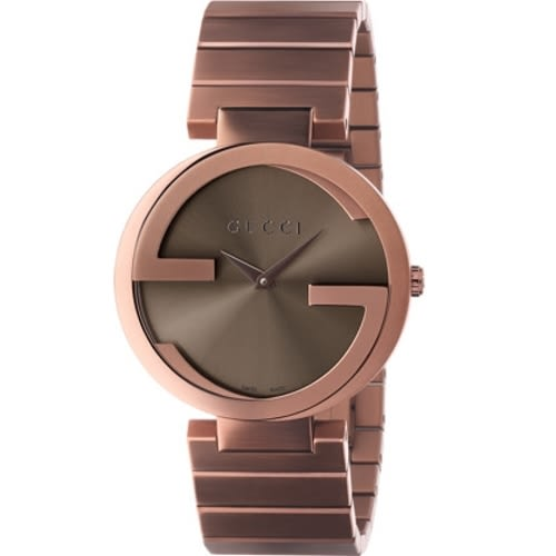 GUCCI Interlocking-G 流行時尚元素腕錶/古銅金/YA133317