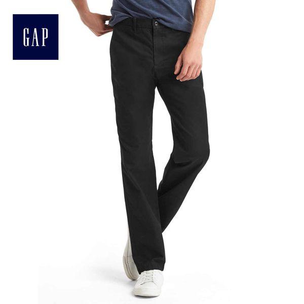 Gap男裝 基本款舒適時尚彈力卡其褲 320802-純正黑色