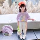 女童短袖上衣 寶寶夏裝女花朵印花短袖T恤小童洋氣女童上衣正韓潮-Ballet朵朵