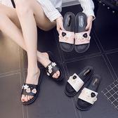 女士拖鞋夏塑料室內防滑軟底日韓時尚家居可愛厚底涼拖鞋平跟外穿【萬聖節全館大搶購】