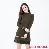 【RED HOUSE 蕾赫斯】微高領針織洋裝(共3色)