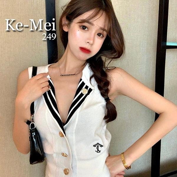 克妹Ke-Mei【AT67140】Chow雅痞海軍風徽章立領深V針織背心