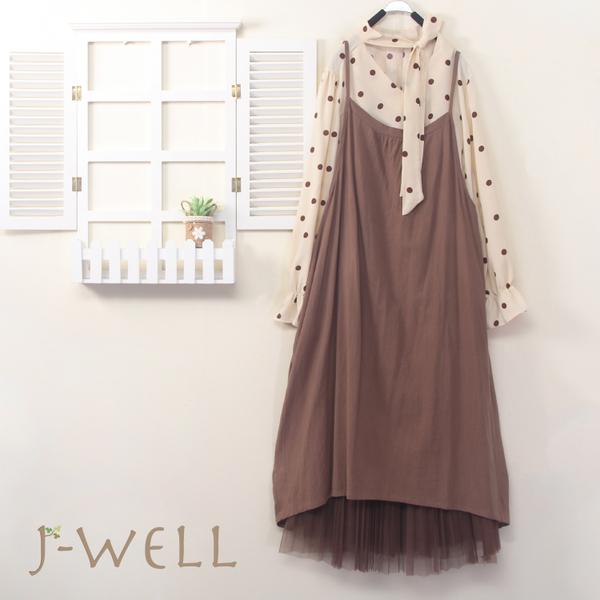 J-WELL 點點綁帶上衣細肩帶洋網紗裙三件組(組合B017 8J1633卡+9J1027米+9J1029咖)